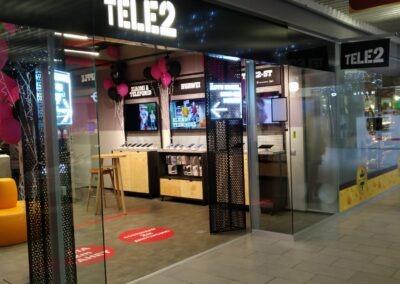 Tele2 esindused Tartu Lõunakeskuses, Kuressaares, Rocca al Mare ning Kristiine keskustes